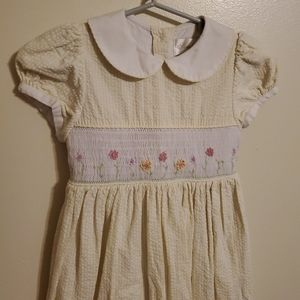 Vintage   Yellow Smocked Seersucker Dress